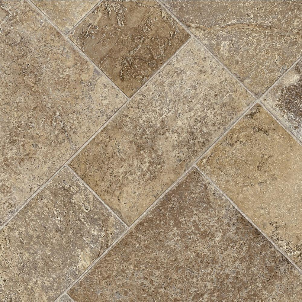 Coffee Diagonal Tile 12 ft. Wide x Your Choice Length Vinyl