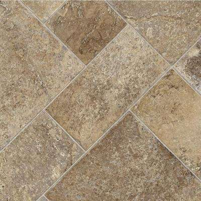 Coffee Diagonal Tile 12 ft. Wide x Your Choice Length Vinyl Sheet