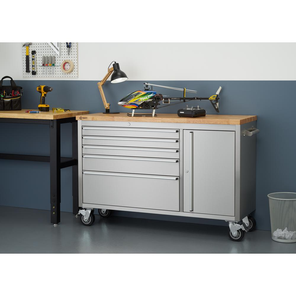 trinity 37 in. h. x 56 in. w x 19 in. d stainless steel workbench