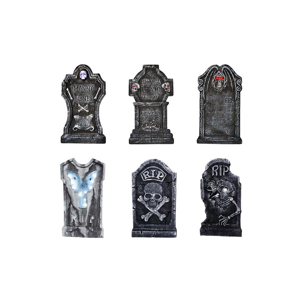 Home Accents Holiday 36 in. Styrofoam Tombstone Assortment with LED Illumination