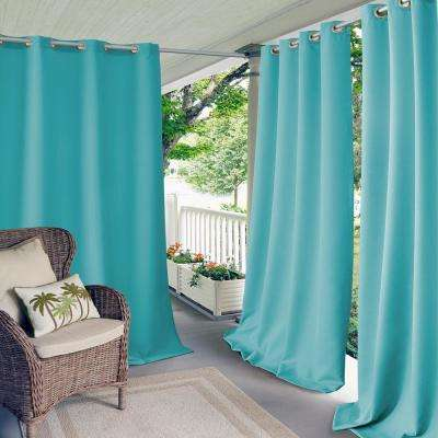 Connor 52 in. W x 95 in. L Indoor/Outdoor Solid Grommet Window Curtain Turquoise