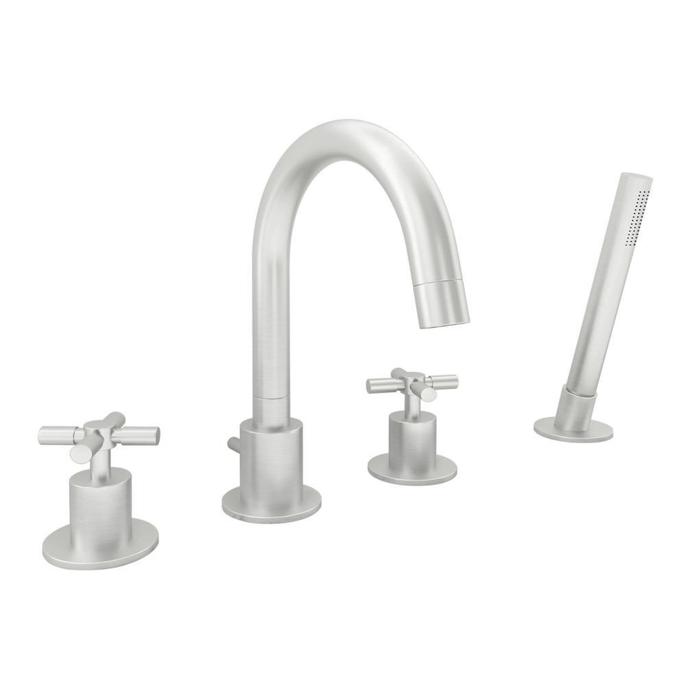 Prima 4 Bathroom 2-Handle Roman Tub Faucet in Brushed Nickel