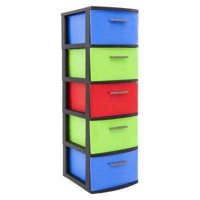 13 in. W x 39 in. H x 15 in. D 5-Drawer Resin Storage Cabinet in Bright Multi-Color