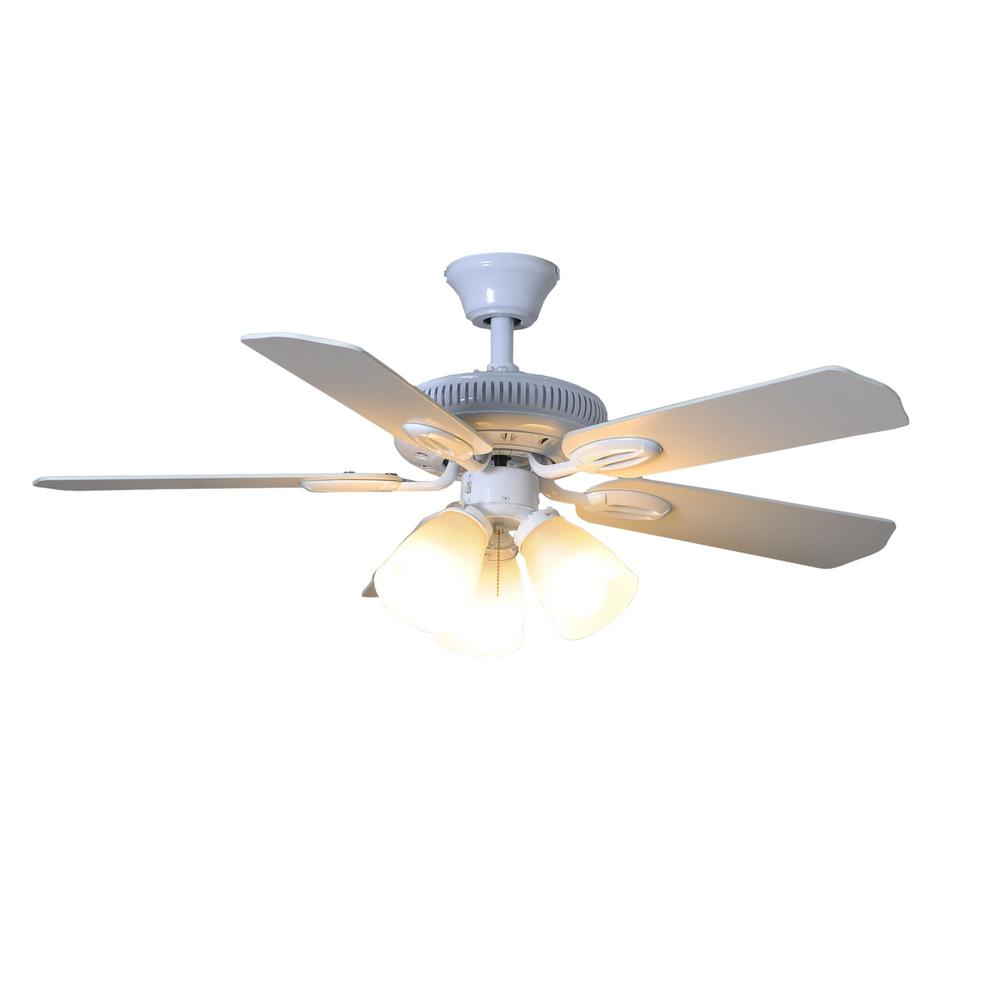 Hampton Bay Glendale 42 in. LED Indoor White Ceiling Fan with Light on