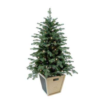 pre lit balsam artificial christmas porch tree with battery operated warm white - Battery Operated Christmas Decorations