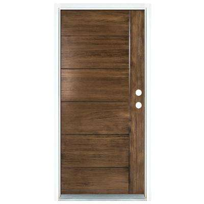 36 in. x 80 in. Contemporary Teak Medium Oak Left-Hand Inswing Fiberglass Prehung Front Door
