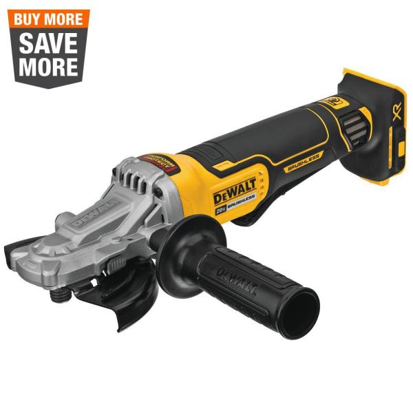 20-Volt MAX XR Cordless Brushless 5 in. Flathead Paddle Switch Small Angle Grinder with Kickback Brake (Tool Only)