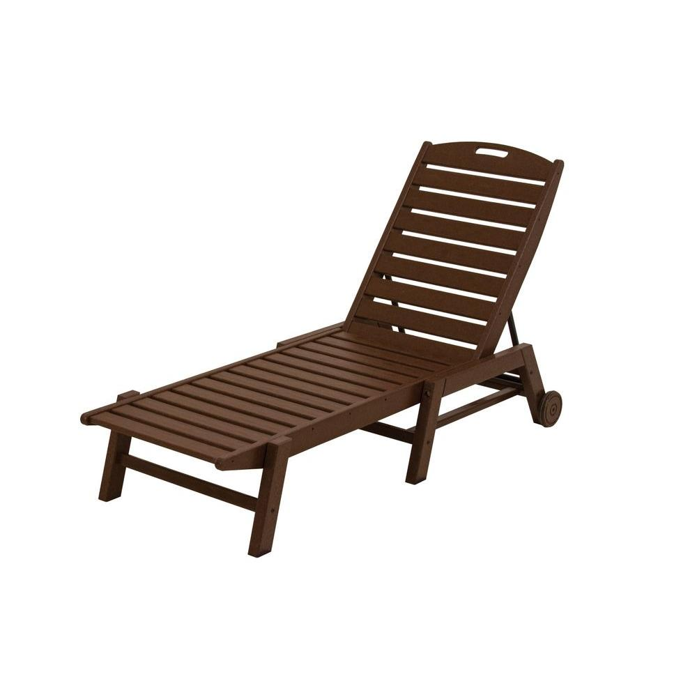 Nautical Mahogany Wheeled Armless Plastic Outdoor Patio Chaise Lounge