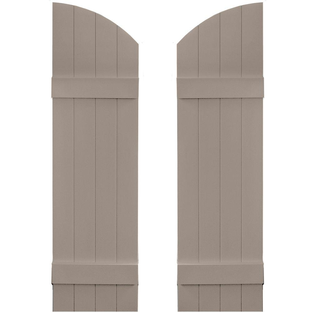 Builders Edge 14 in. x 45 in. Board-N-Batten Shutters Pair, 4 Boards Joined with Arch Top #008 Clay