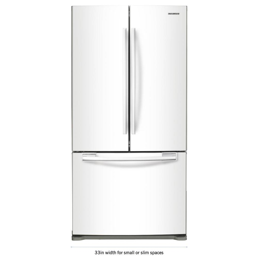 samsung 33 in w 19 4 cu ft french door refrigerator in white rf20hfenbww the home depot. Black Bedroom Furniture Sets. Home Design Ideas