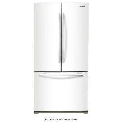 33 in. W 19.4 cu. ft. French Door Refrigerator in White