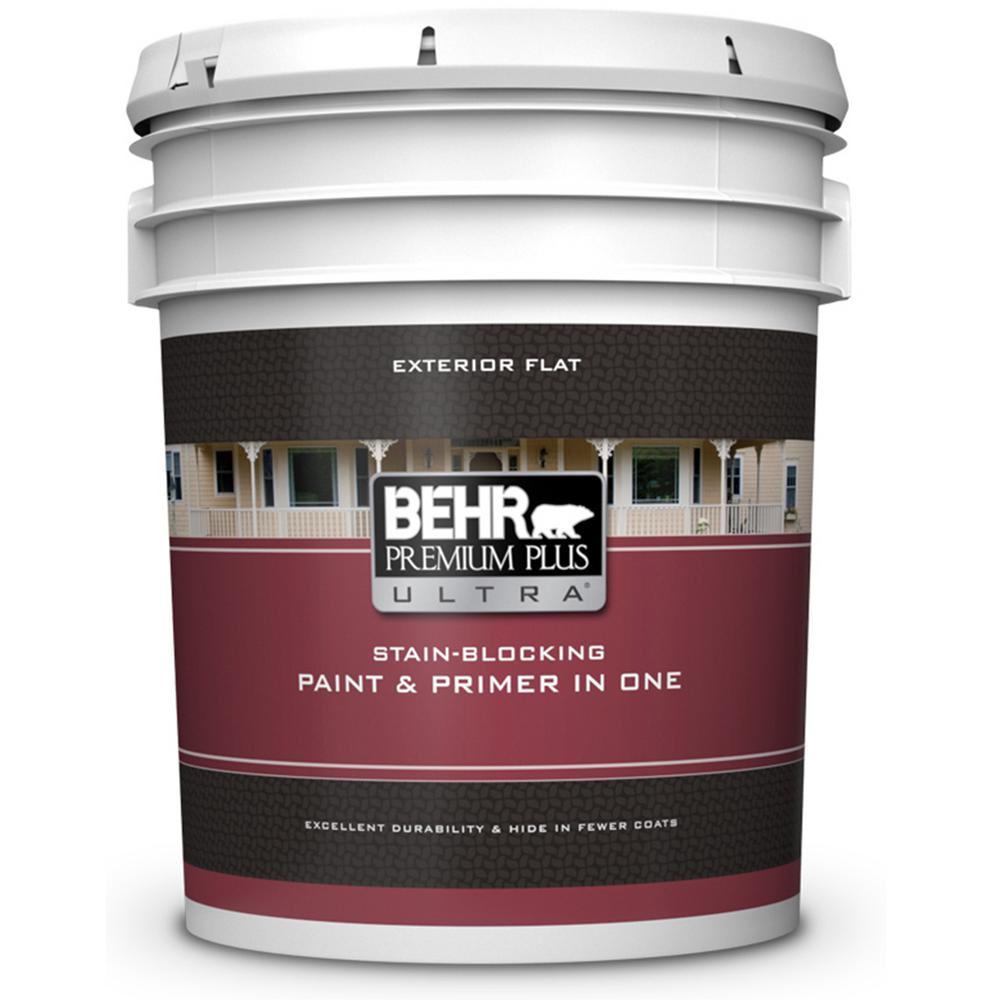 Behr Premium Plus Ultra 5 Gal Pure White Flat Exterior Paint And Primer In