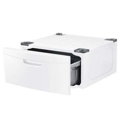 Laundry Pedestal with Storage Drawer in White