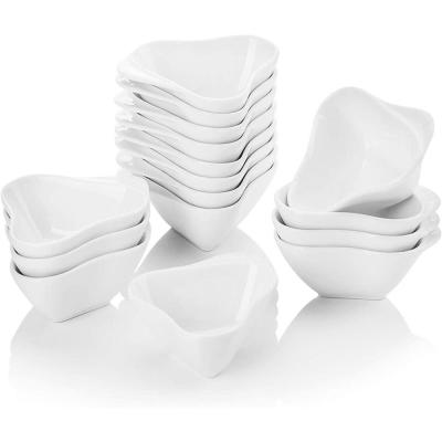 3 in. White Porcelain Ramekins Souffle Dishes Serving Bowls (Set of 16)