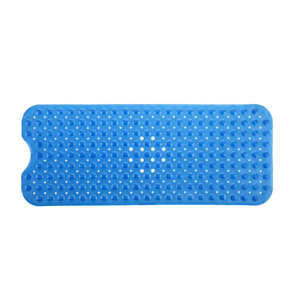 16 in. x 39 in. Extra Long Bath Mat in Blue