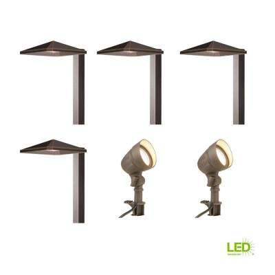 Low-Voltage Bronze Outdoor Integrated LED Landscape Light Kit with 2 Flood Lights and 4 Path Lights (6-Pack)