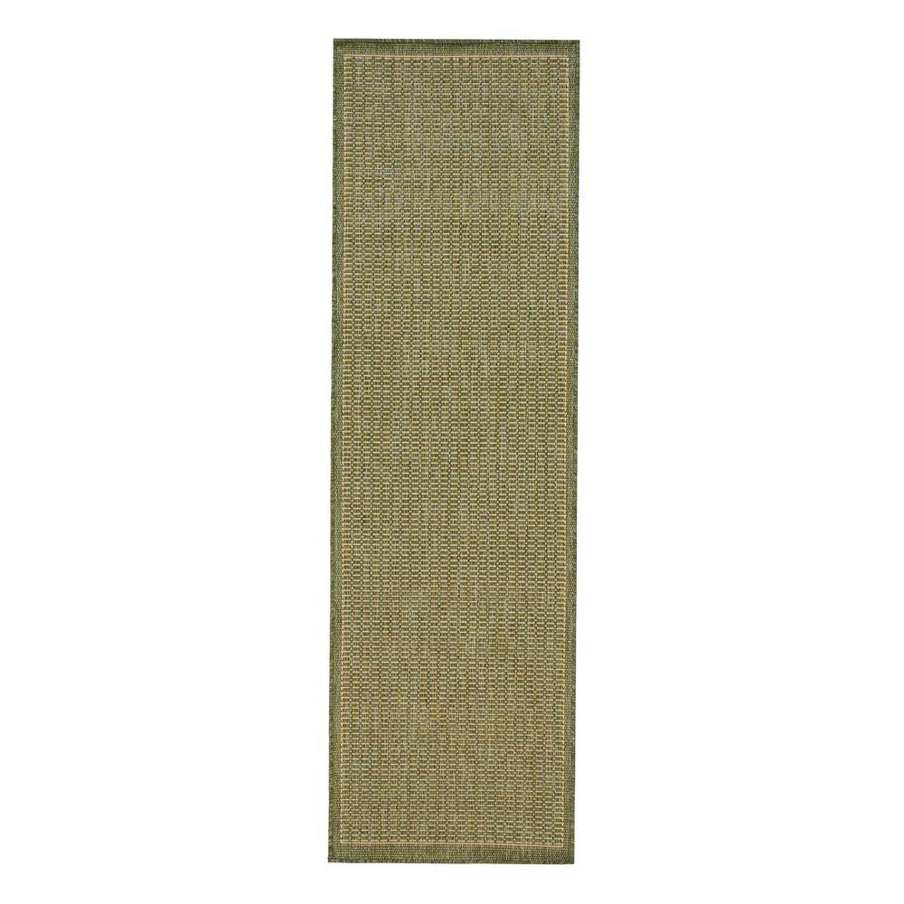 Home Decorators Collection Saddlestitch Green Natural 2 Ft X 12 Ft Runner Rug 2881455610 The