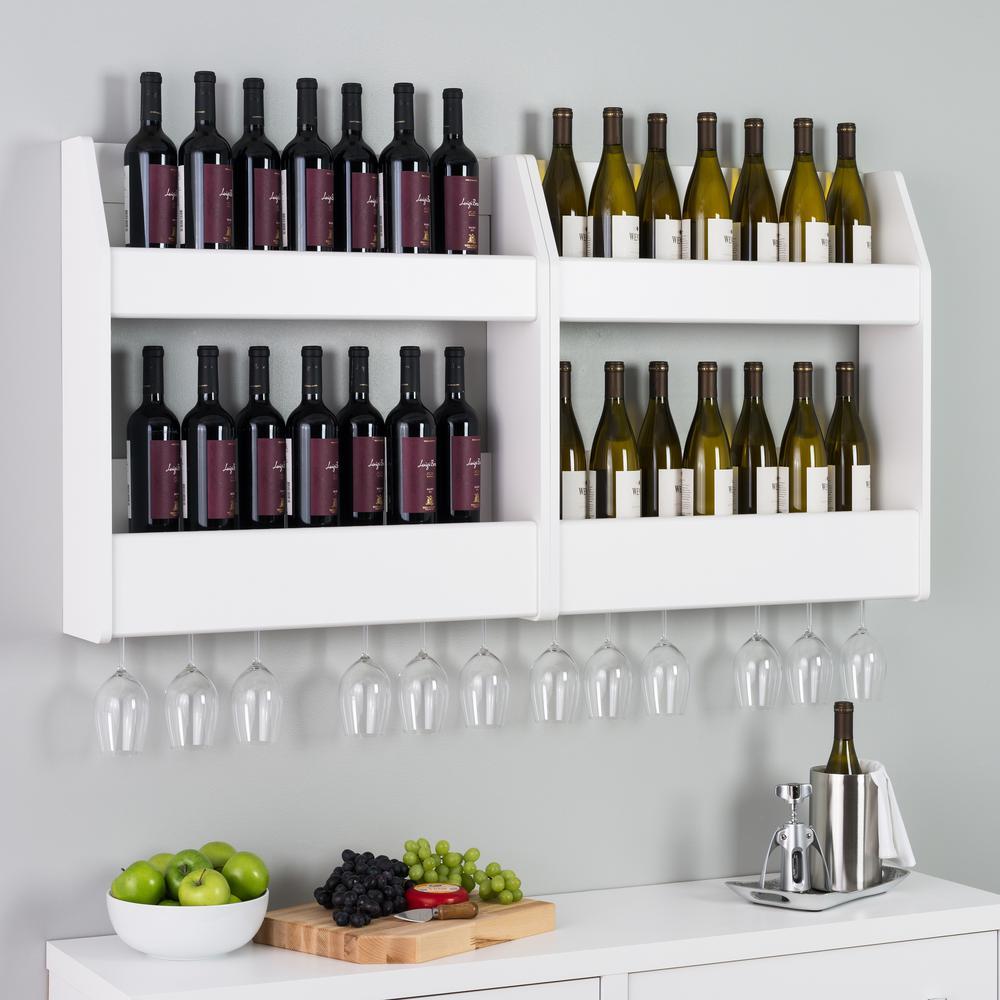 24-Bottle White 2-Tier Floating Wine and Liquor Rack