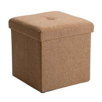 Camel Linen Look Single Folding Ottoman