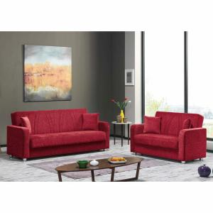 Ottomanson Elegance Red Fabric Uphostery Sofa Sleeper Bed with ...