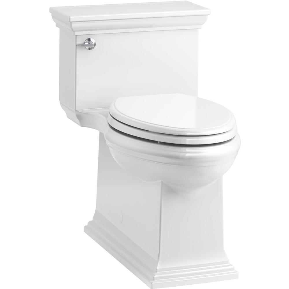 Kohler Memoirs Stately 1 Piece 1 28 Gpf Single Flush Elongated Toilet In White Seat Included K 6428 0 The Home Depot