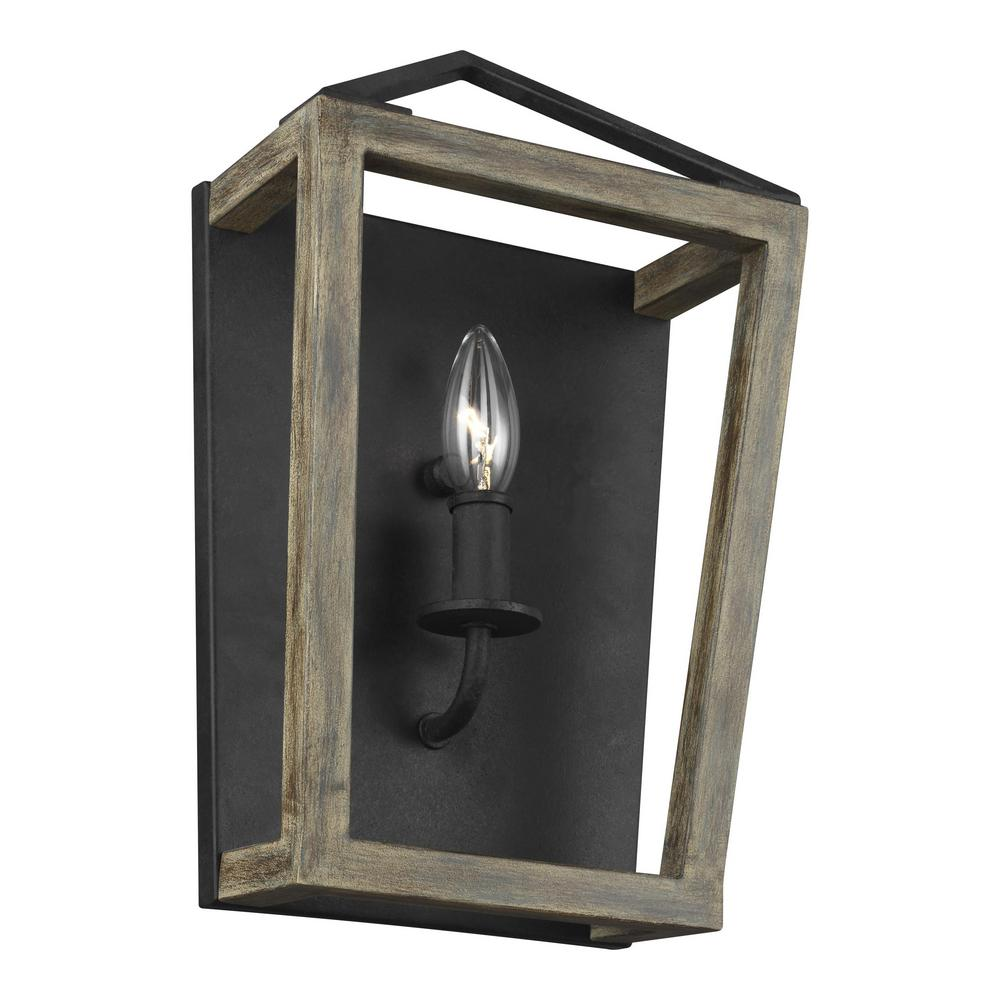 Feiss Gannet 1-Light Weathered Oak Wood and Antique Forged Iron Sconce
