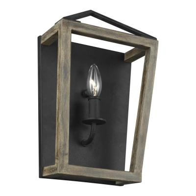 Gannet 1-Light Weathered Oak Wood and Antique Forged Iron Sconce