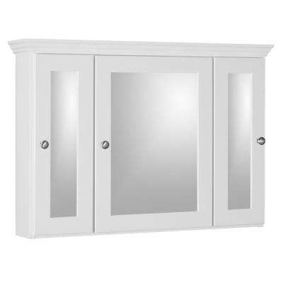 Shaker 36 in. W x 27 in. H x 6-1/2 in. D Framed Tri-View Surface-Mount Bathroom Medicine Cabinet in Satin White