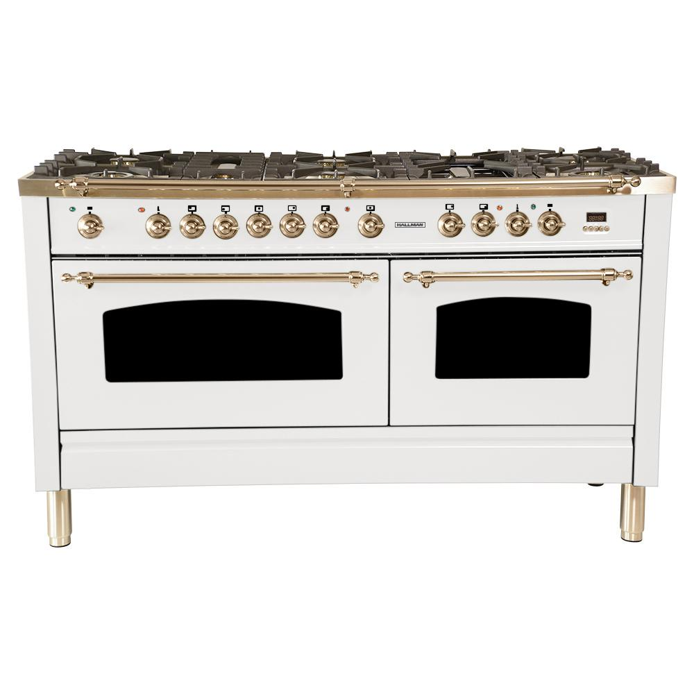 Hallman 60 In. 6 Cu. Ft. Double Oven Dual Fuel Italian Range With
