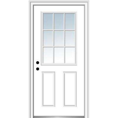 32 in. x 80 in. Classic Right-Hand Inswing 9-Lite Clear Low-E Primed Steel Prehung Front Door on 6-9/16 in. Frame