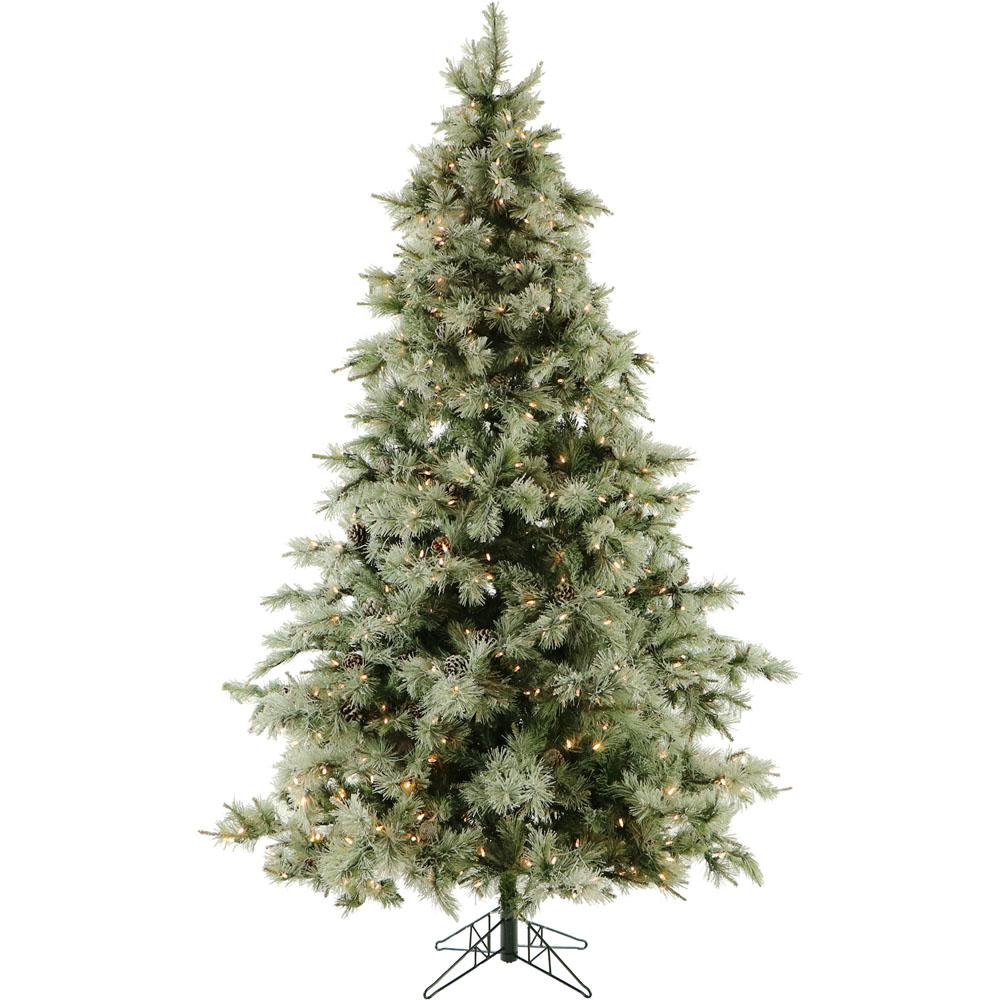 Artificial Christmas Tree With Pine Cones: Fraser Hill Farm 9.0 Ft. Pre-Lit LED Glistening Pine