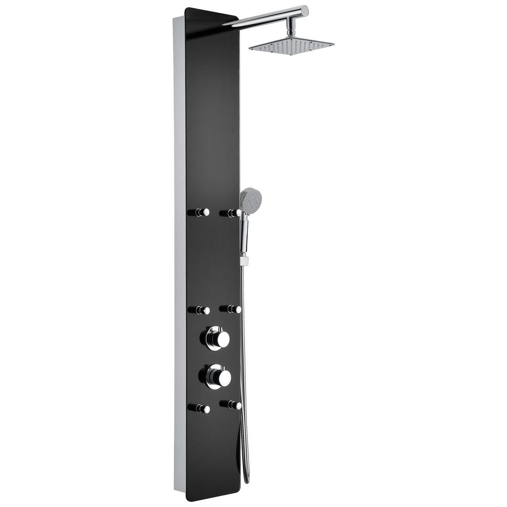 ANZZI Melody 59 in. 6-Jetted Full Body Shower Panel System with Heavy Rain Shower and Spray Wand in Black Deco-Glass