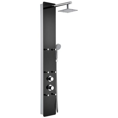 Melody 59 in. 6-Jetted Full Body Shower Panel System with Heavy Rain Shower and Spray Wand in Black Deco-Glass