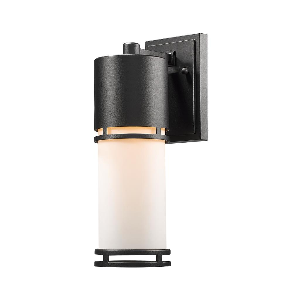 Seija 60-Watt Equivalent Outdoor Black Integrated LED Wall Mount Sconce with