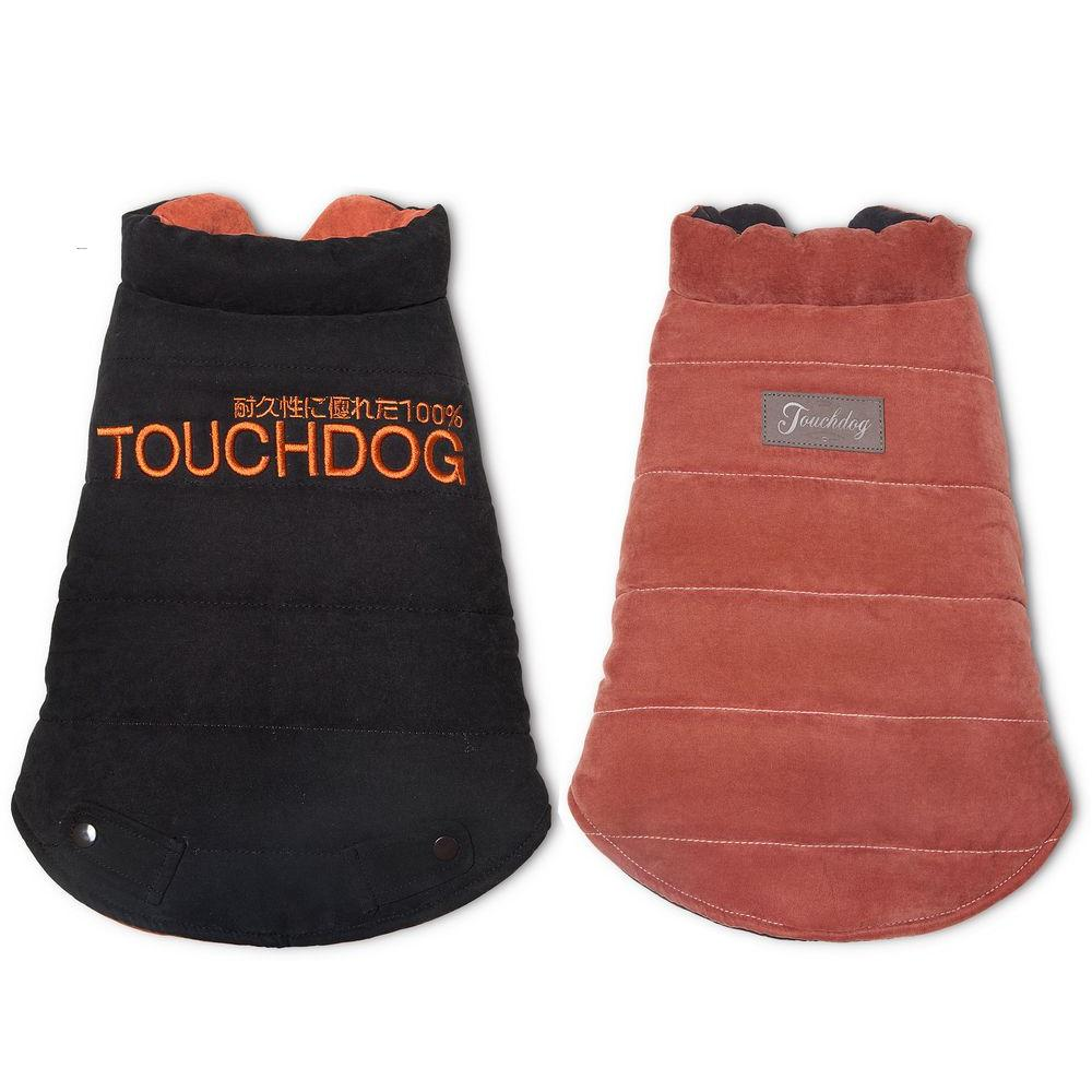 Large Brown and Orange Waggin Swag Reversible Insulated Pet Coat