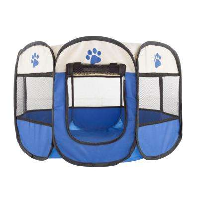26.5 in. x 26.5 in. Portable Pop Up Pet Play Pen with Carrying Bag in Dark Blue