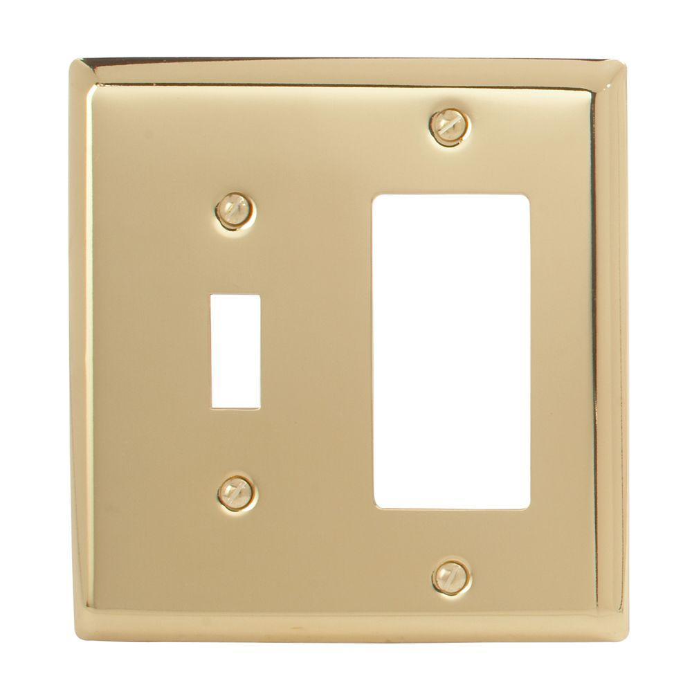 Madison 1 Toggle 1 Decora Wall Plate - Polished Brass