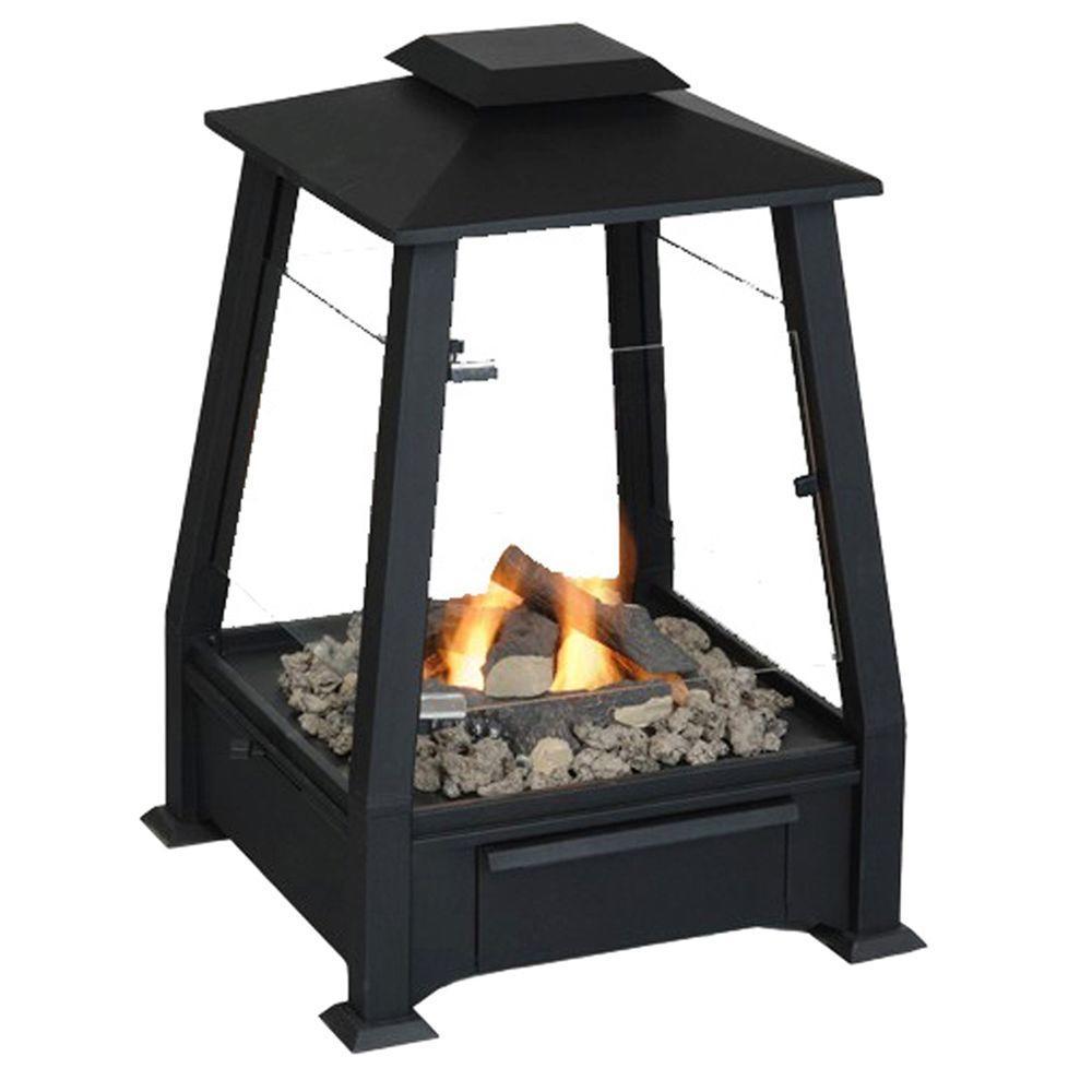 Real Flame 20 in. Sierra Outdoor Fireplace in Black