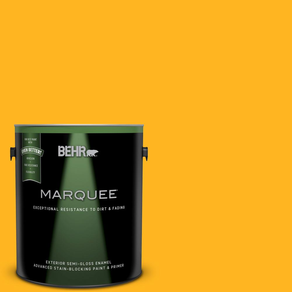 BEHR MARQUEE 1-gal. #P260-7 Extreme Yellow Semi-Gloss Enamel ...