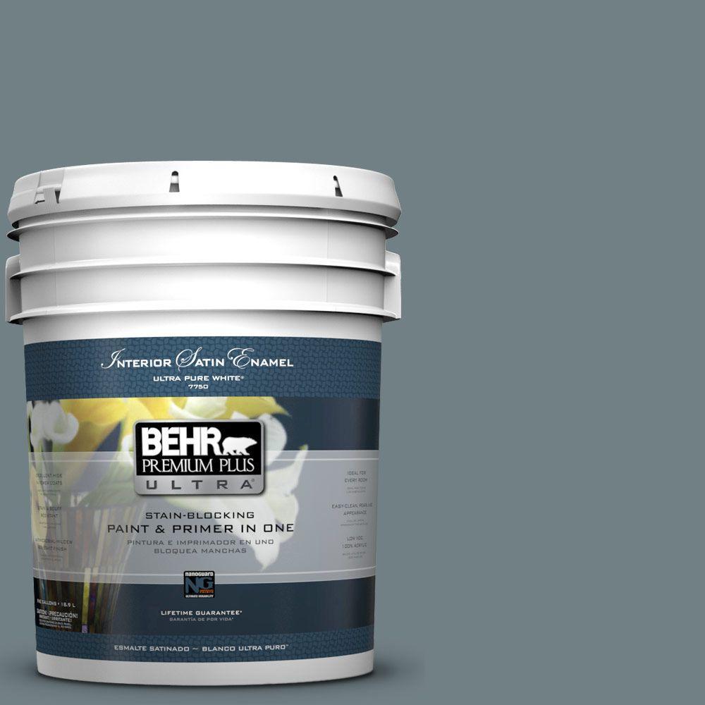 BEHR Premium Plus Ultra 5-gal. #BXC-48 Courtyard Blue Satin Enamel Interior Paint