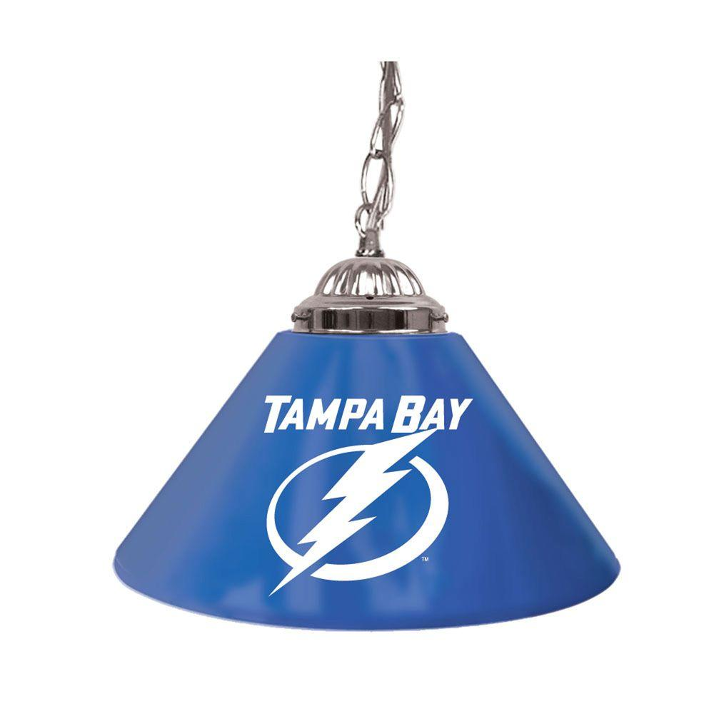 null NHL Tampa Bay Lightning 14 in. Single Shade Stainless Steel Hanging Lamp