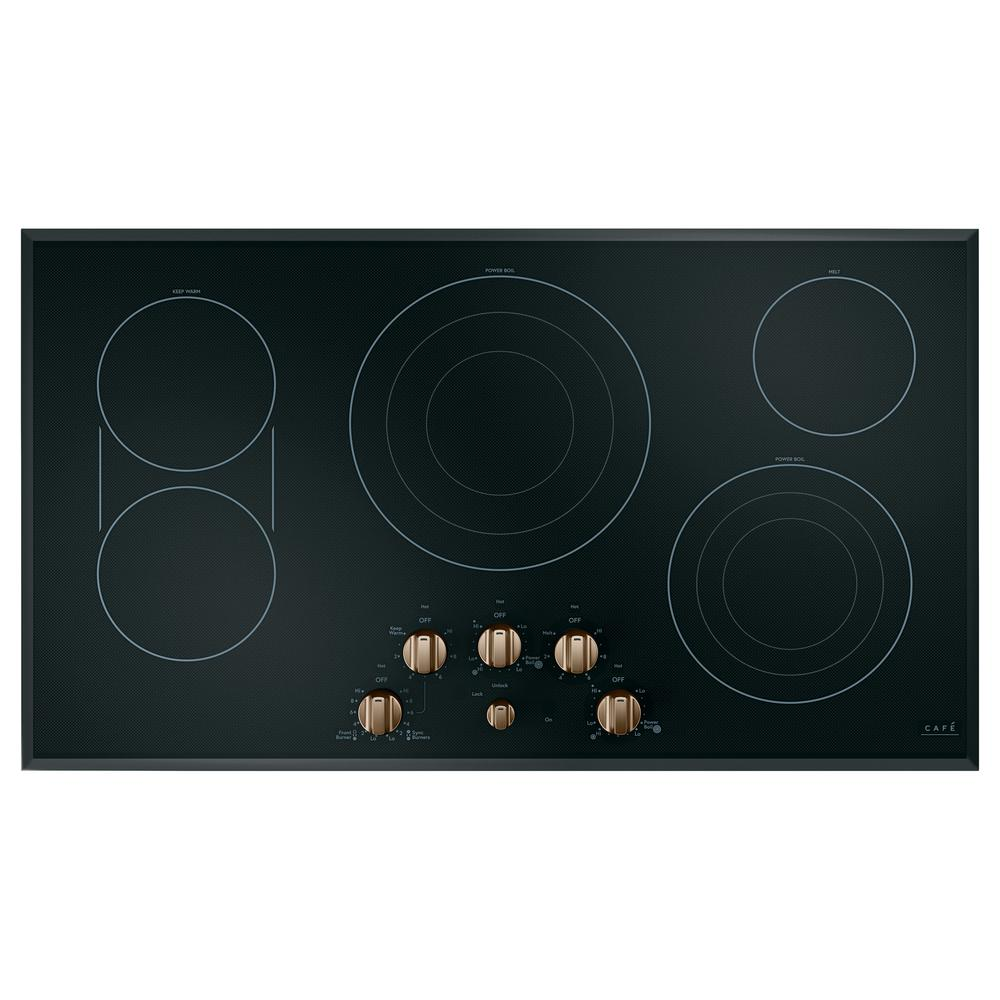 36 in. Radiant Electric Cooktop in Black and Brushed Bronze with