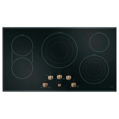 36 in. Radiant Electric Cooktop in Black and Brushed Bronze with 5 Elements with Sync-Burners Including Sync-Burners