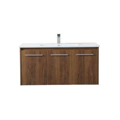 Timeless Home 40 in. W x 18.31 in. D x 19.69 in. H Single Bathroom Vanity in Walnut Brown with Porcelain and White Basin