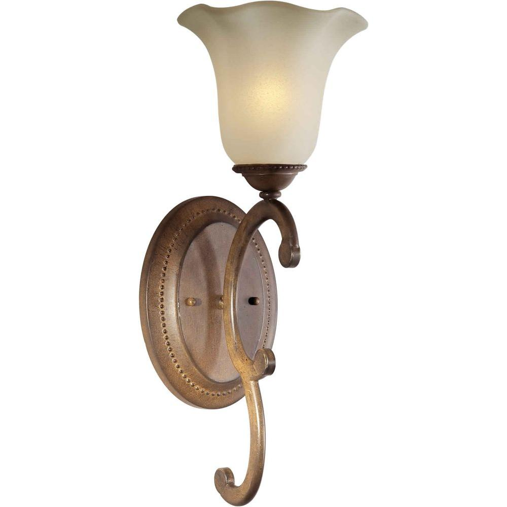 Illumine 1 Light Wall Sconce Rustic Sienna Finish Shaded Umber Glass-DISCONTINUED