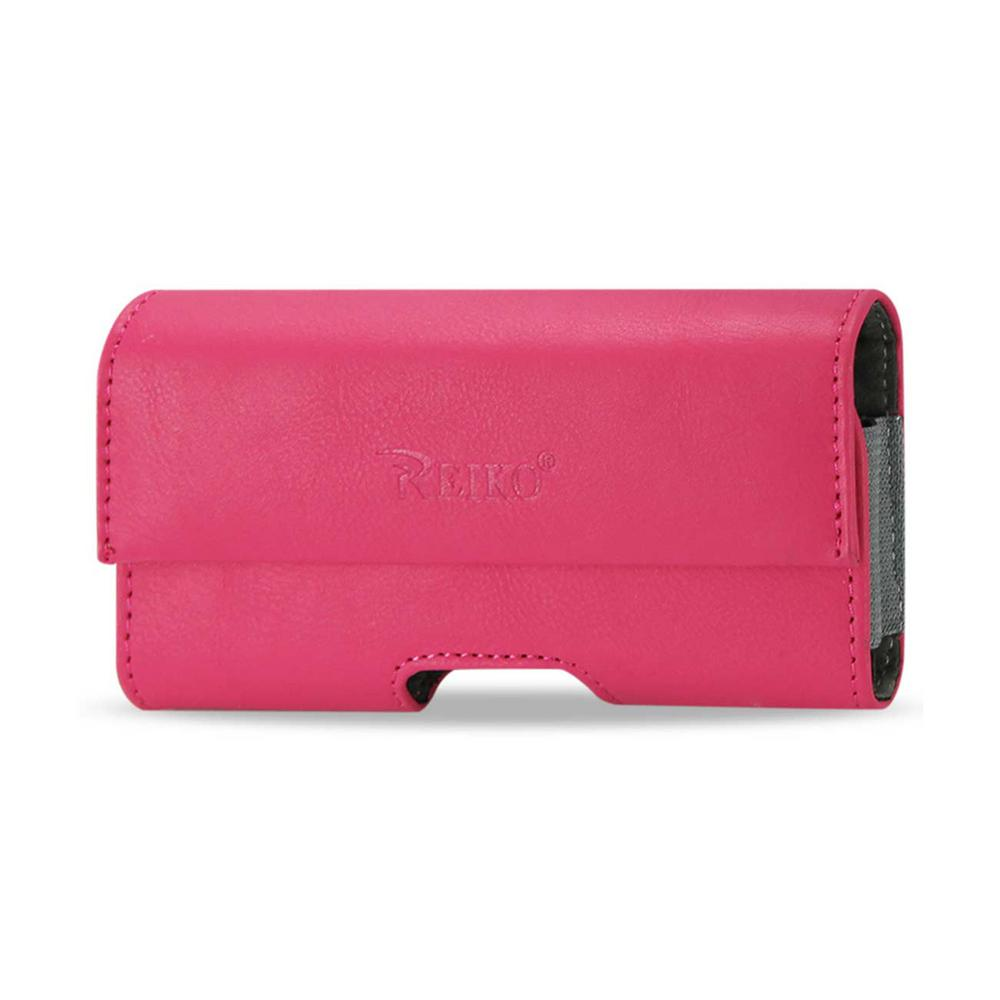 Small Horizontal Leather Holster in Hot Pink