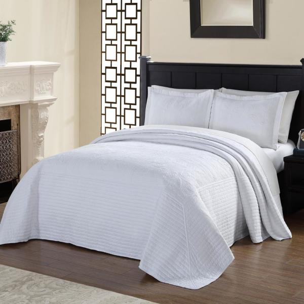 American Traditions French Tile Quilted White King Bedspread