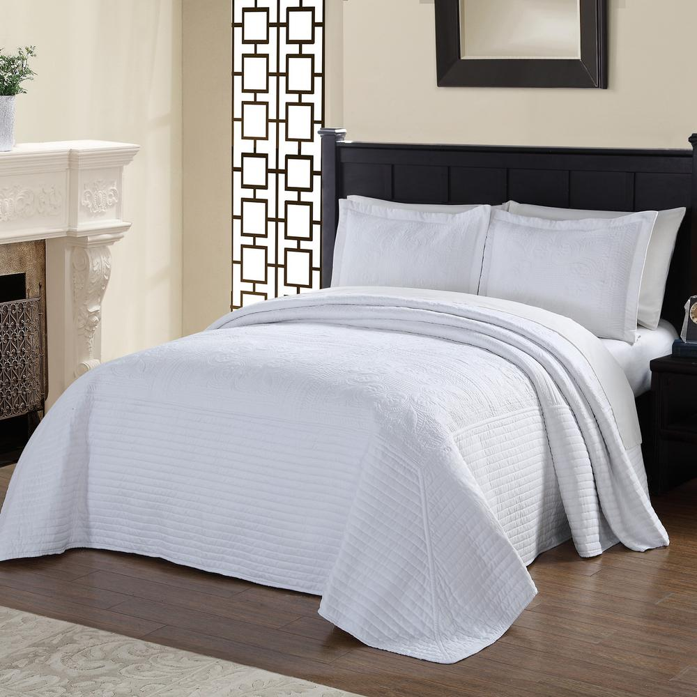 American Traditions French Tile Quilted White Queen  Bedspread BQ7168WTQN 4400   The Home Depot