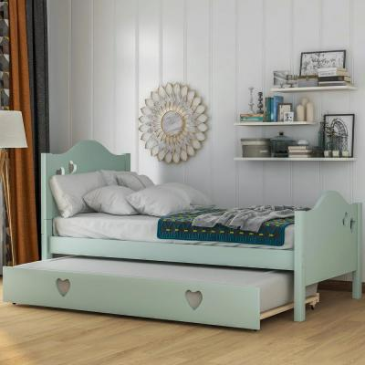 Loving Green Twin Size Platform Bed with Trundle for Children