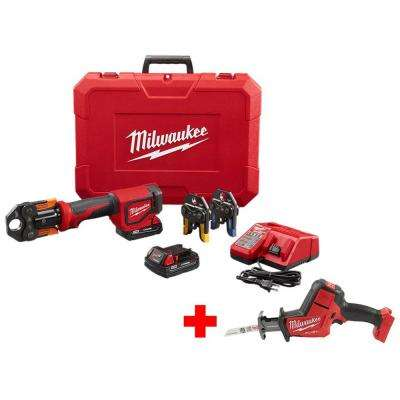 M18 18-Volt Lithium-Ion Cordless Short Throw Press Tool Kit w/ (3) Viega PureFlow Jaws & Free M18 Fuel Hackzall